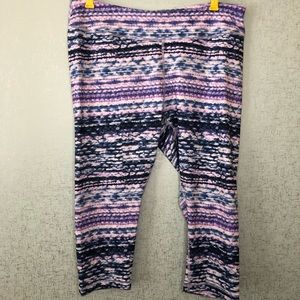 Zella Blue and Purple Stripe Studio Crop Leggings